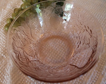 """Pink Glass 6.75"""" Small Serving Bowl with Impressed Fruit - Pear, Apple, Grapes, Garlic"""