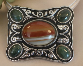 Vintage Western Belt Buckle - Silver Tone with Polished Agate Stones in Excellent Condition