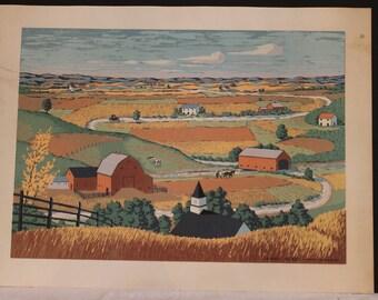 """Vintage Art Lithgraph intitulé «Sunny Acres» par Harry Blackburn, 20,75"""" par 28"""""""