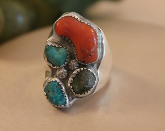 Size 12 Large Vintage Native American Men's Ring - Sterling Silver, Turquoise, Coral, and Raw Onyx