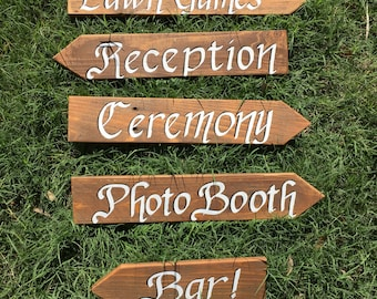 Ordinaire Custom Directional Signs, Brown Stained Personalized Garden Art, Backyard  Sign, Personalized Yard Decor, Sign Post, Rustic Wood Garden Sign