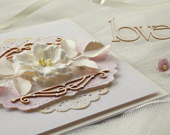 Handmade Wedding Invitations, pink wedding invitation, flower wedding invitation