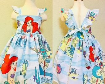 cc52aab379ed Beautiful Little Mermaid Dress Vintage toddler girls Flutter straps tie  back Ariel Castle Princess Walt Disney World Land WDW Upcycle