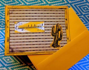 Congratulations Card // New Baby // Graduation // Well Done // New House // New Job // Congrats Card // Blank Inside // Desert Card //Cactus