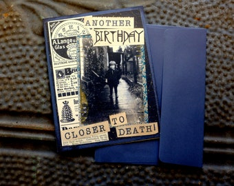 Macabre Birthday Card // Over the Hill // Milestone Birthday // Satirical Birthday // Victorian Card // Morbid Card // Blank Inside//Funny