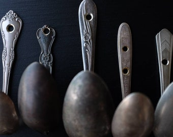 Upcycled Spoon Hook // Vintage Spoon Hook // Silverware Hook // Repurposed Silverware // Kitchen Hook // Sturdy Hook // Spoon Tie Back //