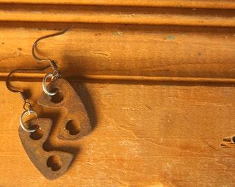 Rusty Metal Earrings // Steampunk Earrings // Scrap Metal Earrings // Punk Earrings // Repurposed Earrings // Primitive Earrings // Rustic