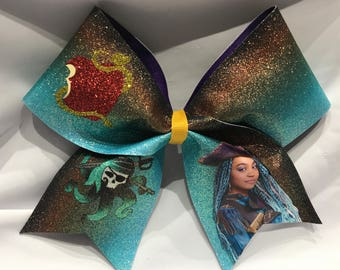 "Uma - Descendants  ""TEXAS/CHEER"" LARGE Size Glitter bow"