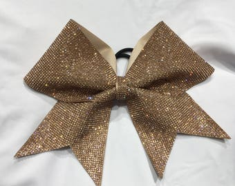 """Champagne Colored Rhinestone """"TEXAS/CHEER"""" LARGE Size Bow"""