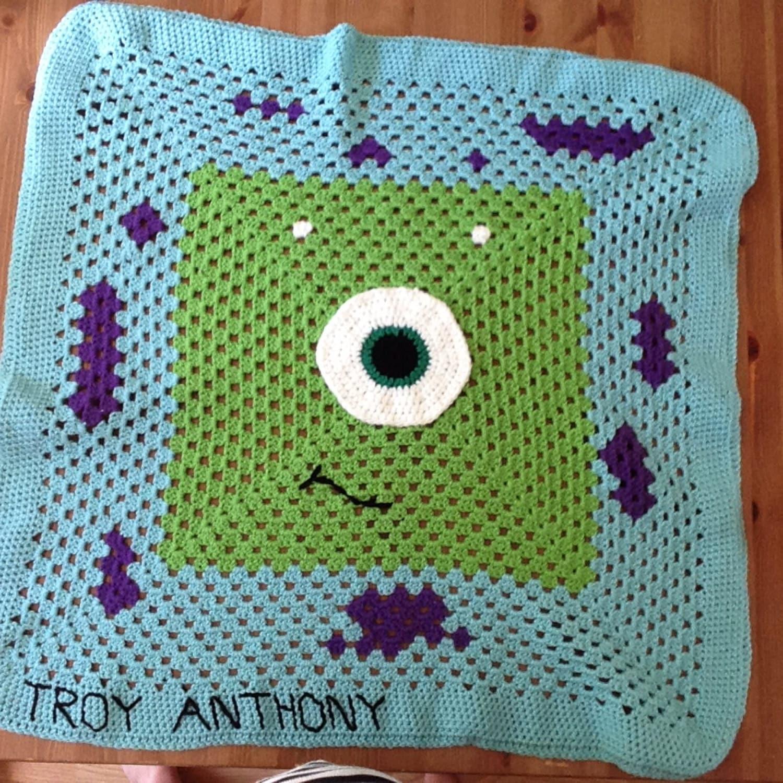 32 X 32 Monsters Inc Granny Square Blanket Etsy