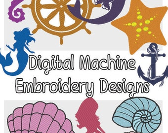Sea Motifs Mermaids and Seashells machine embroidery designs .PES format 9 included!