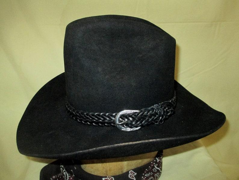 3de15f8314 Vintage bande de cuir tressé noir vintage Chapeau Stetson noir | Etsy