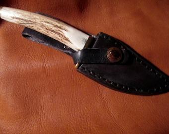 Custom black leather knife sheath with Antler handle.