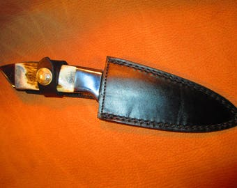 Vintage Hunting Knife with Damascus blade and Leather sheath.