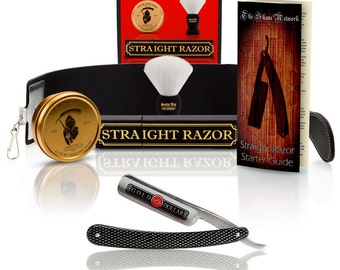 Shave ready Gold Dollar straight razor with premium shave kit