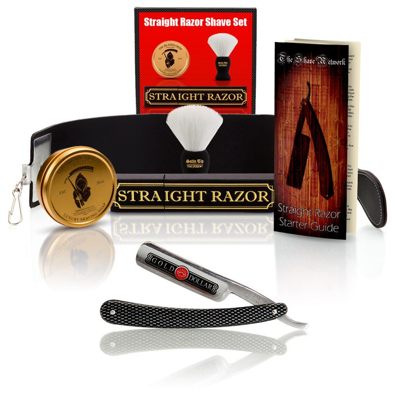 Shave ready Gold Dollar straight razor with premium shave kit image 0