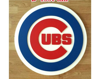 CHICAGO CUBS....2 feet tall....3 dimensionally layered wooden wall display