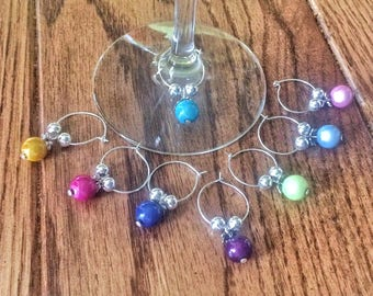 Wine Glass Charms Gift Favors, Wine Lover Party Gift Tags, Wine Charms Friend Gift Set, Unique Wine Party Gift Charms, Wine Party Markers
