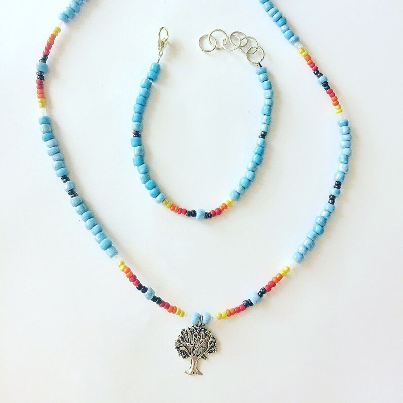bb647fb0503e5 Tree Of Life Necklace Bracelet Jewelry Set, Beaded Choker Necklace, Boho  Tree of Life Charm Bracelet Jewelry, Best Friend Birthday Teen Gift