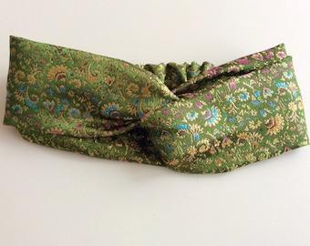 GREEN HEADBAND, silk headband, embroidered silk turban, green silk headband, elegant headband, woman headband, summer headband, handmade