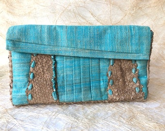 03d12c45f531 HANDMADE WOMEN Clutch Bag, Silk and Leather bag made in Italy, One of a  kind turquoise bag