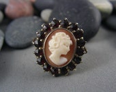 CLASSY CHIC Antique Genuine Bohemian Garnet 800 Sterling Ring Set with a Genuine Carved Shell Cameo Lady Portrait