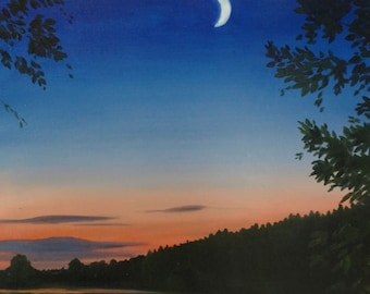 Moonlight Bay, Original oil painting on wood panel, 8 X 10 inches