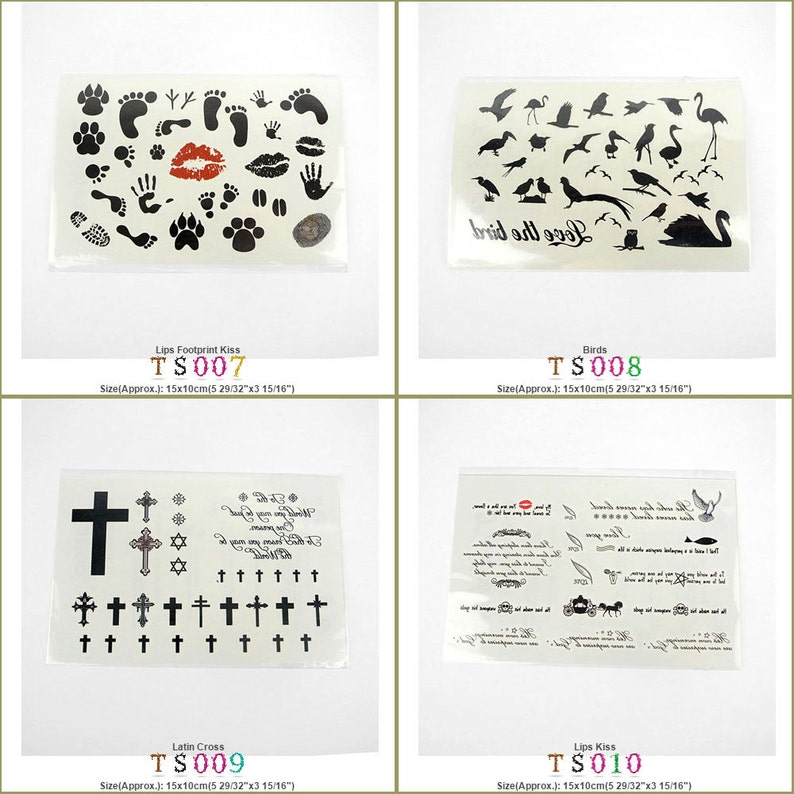 Temporary Tattoo Stickers Lips Footprint Kiss Birds Latin Cross Fashion  Fake Face Makeup Make Up Removable Waterproof Body Transfer Designs