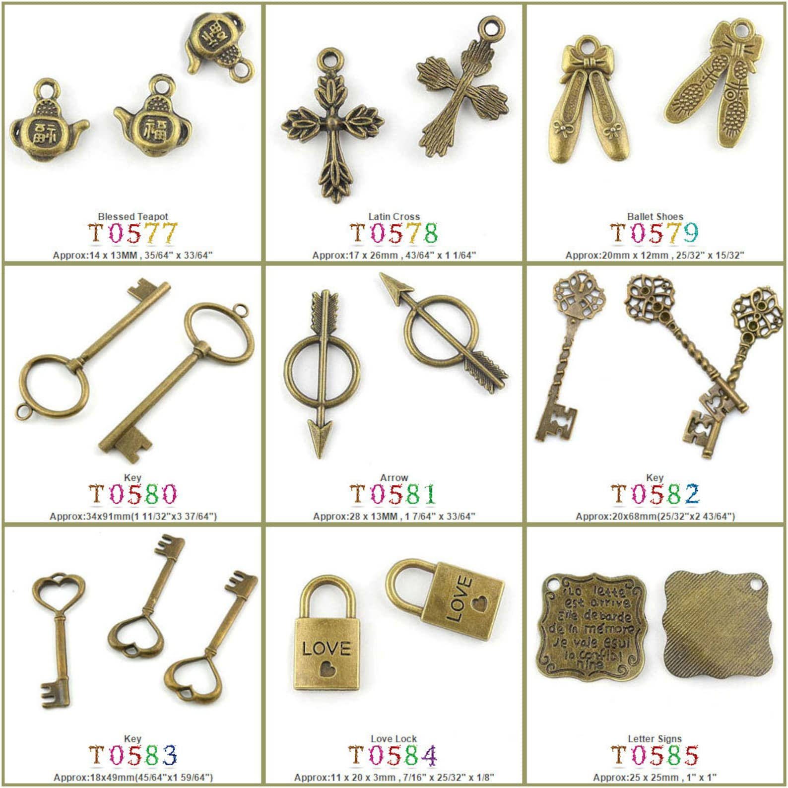 jewelry making charms pendant blessed teapot latin cross ballet shoes key arrow love lock letter signs bronze jewellery charme s