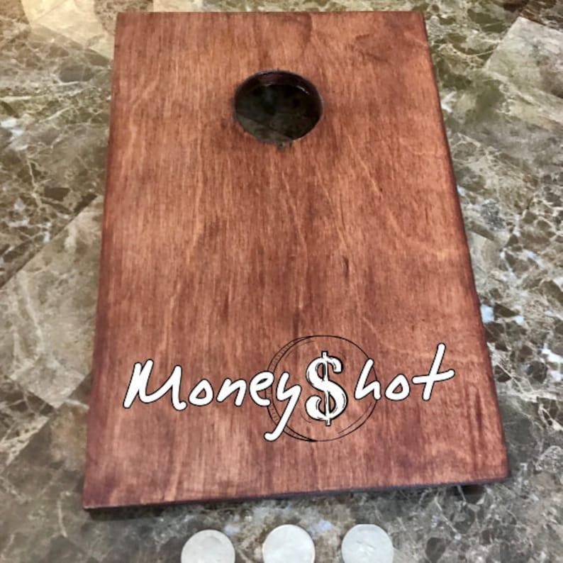 Custom Wood Stained Mini Cornhole Boards  MoneyShot Miniature image 0