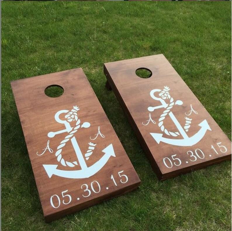 Custom Monogram Wedding Cornhole Boards  Custom Wedding Logo image 0
