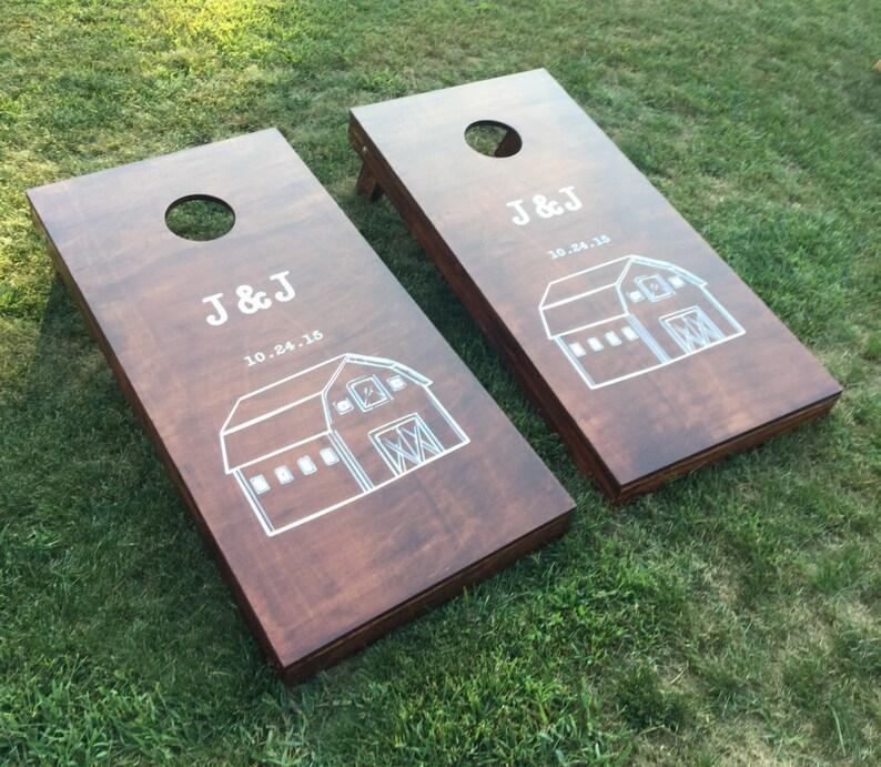Wood Stained Custom Corn Hole Boards  Custom Company or Farm image 0