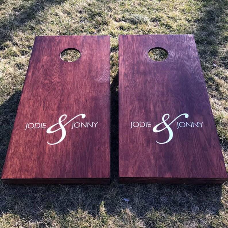 Custom Wedding Cornhole Boards  Custom Wedding Couple Names image 0