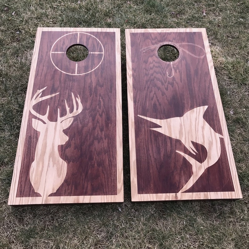 Dual Stain Custom Cornhole Boards  Hunting and Fishing Themed image 0