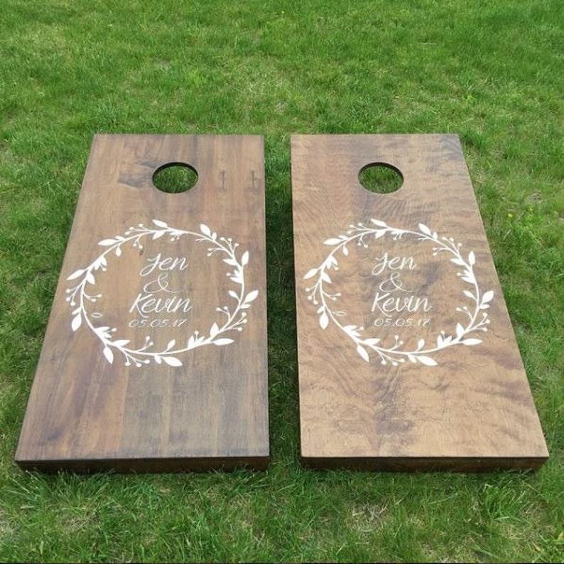 Custom Wedding Cornhole Boards  Custom Wreath Logo image 0