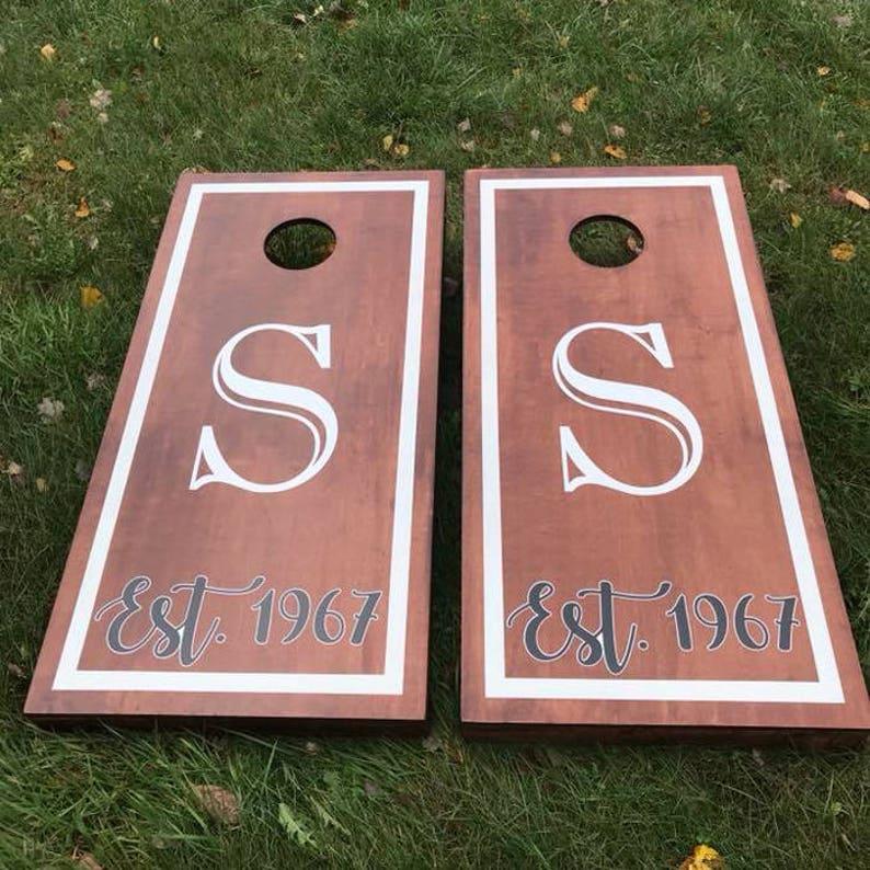 Custom Monogram Wedding Cornhole Boards  Wood Stain Custom image 0