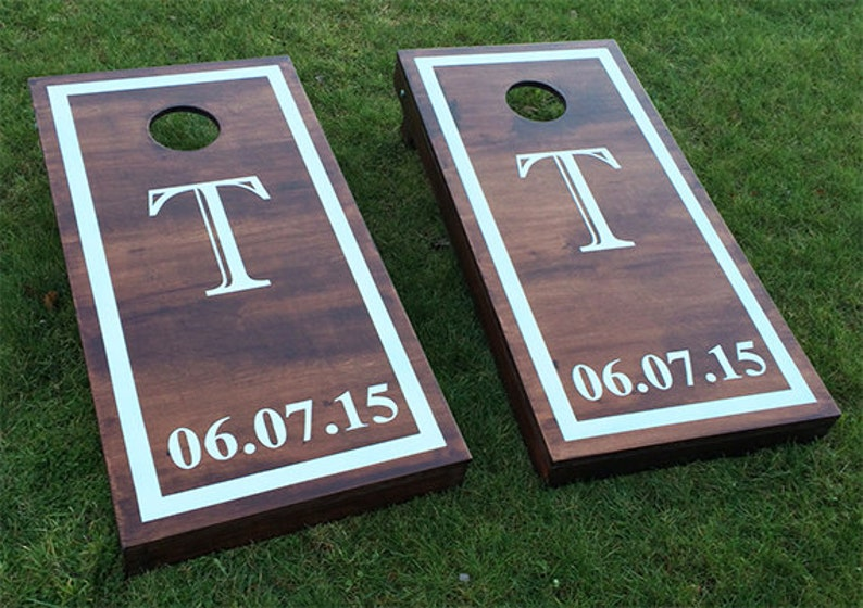 Custom Monogram Wedding Cornhole Boards  Wood Stain Custom image 0