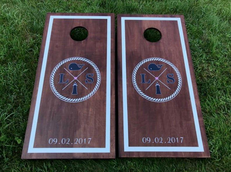 Custom Monogram Wedding Cornhole Boards  Custom Wedding image 0