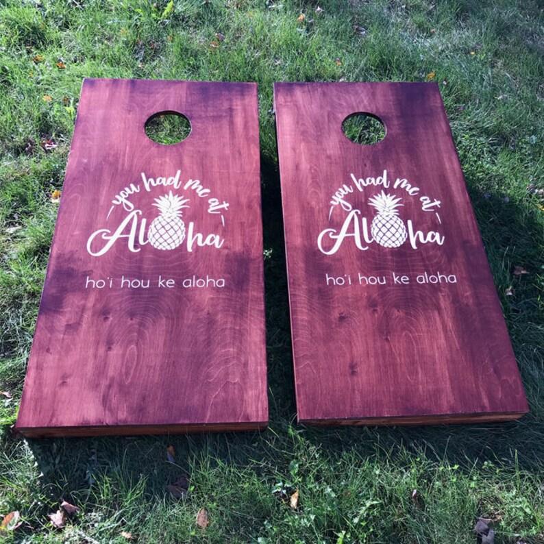 Custom Wedding Cornhole Boards  Custom Aloha Hawaiian Wedding image 0