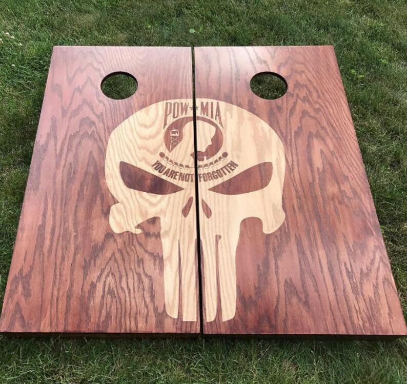 Dual Stain Custom Cornhole Boards  Custom Punisher POW image 0