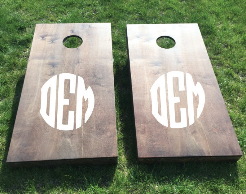 Wood Stained Custom Corn Hole Boards  Circle Monogrammed image 0