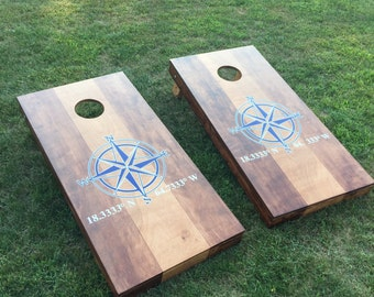 Two Toned Wood Stained Corn Hole Boards - Light & Dark Contrast with Wedding or Company Logo