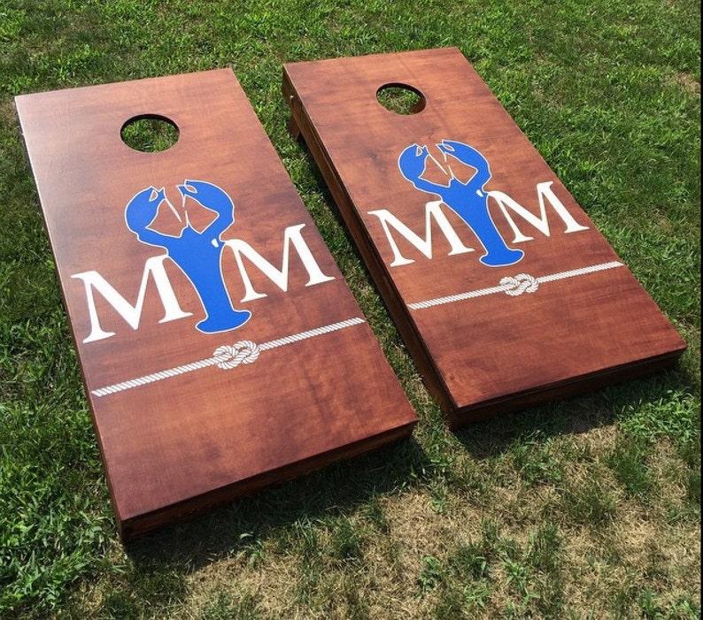 Custom Monogram Wedding Cornhole Boards  Custom Decal Wedding image 0