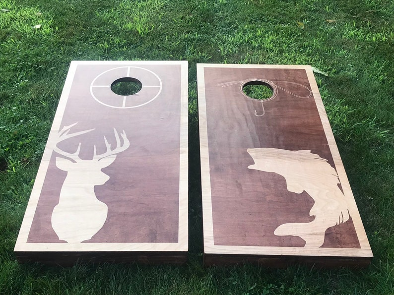 Dual Stain Custom Cornhole Boards  Hunting and Fishing Bass image 0