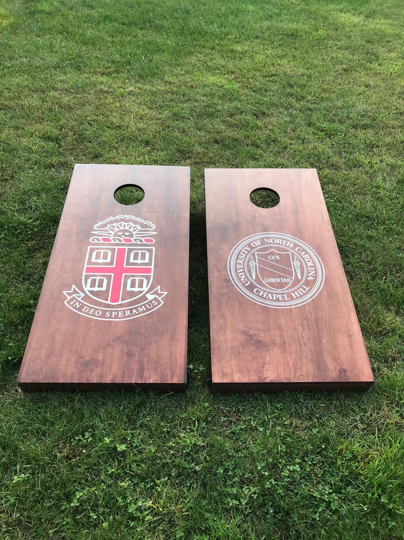 Wood Stained Custom Corn Hole Boards  Company or School Seal image 0