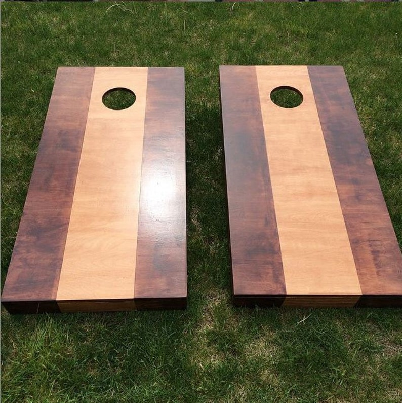 Two Toned Wood Stained Corn Hole Boards  Light & Dark image 0
