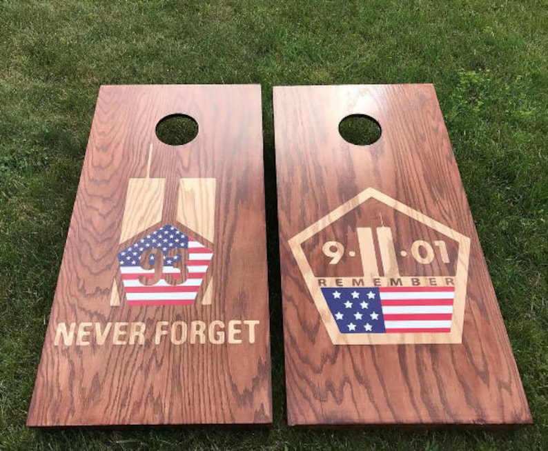 Dual Stain Custom Cornhole Boards  Custom Memorial Color and image 0