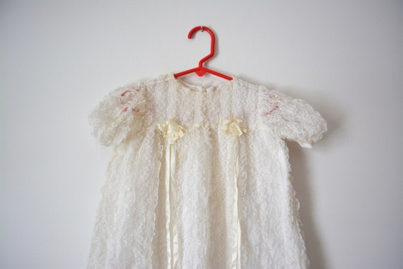 Vintage Long Christening Gown White Lace Baptism B