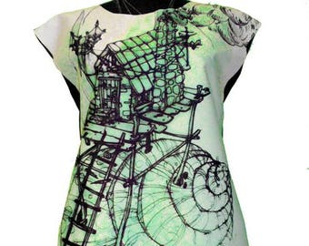 A-Line Dress With Snail House Original Art Print Drawing Green And White Short Forest Shell
