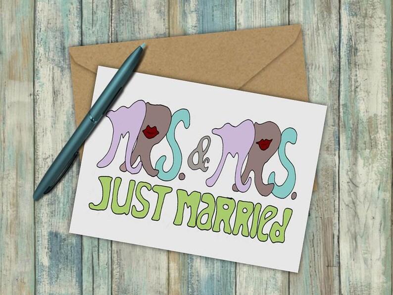 Gay Wedding card \u2013 Just Married same sex cards Wedding Congratulations Card Lesbian wedding Mrs /& Mrs Wedding Day Cards